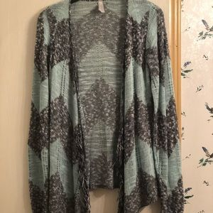 Blue and gray cardigan
